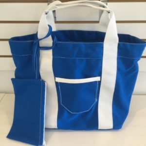 M Beach Bag 1 Pocket Light Blue And Withe + Pocket